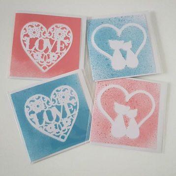 Valentines cards spray paint. 2