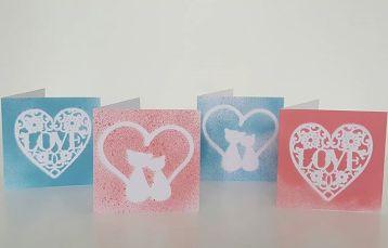 Valentines cards spray paint