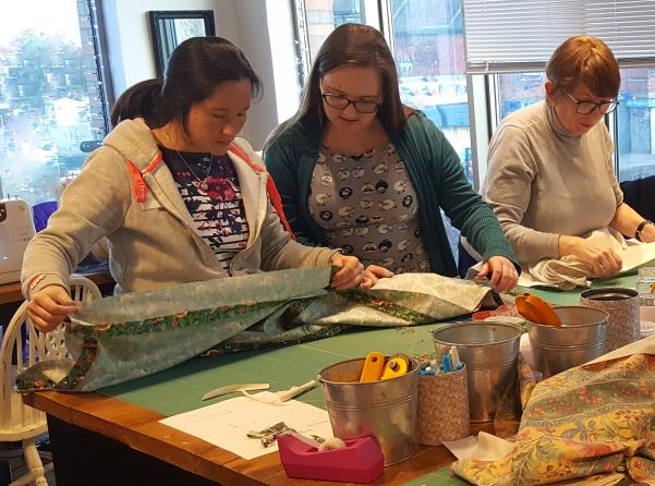Kym teaching sewing class TVH