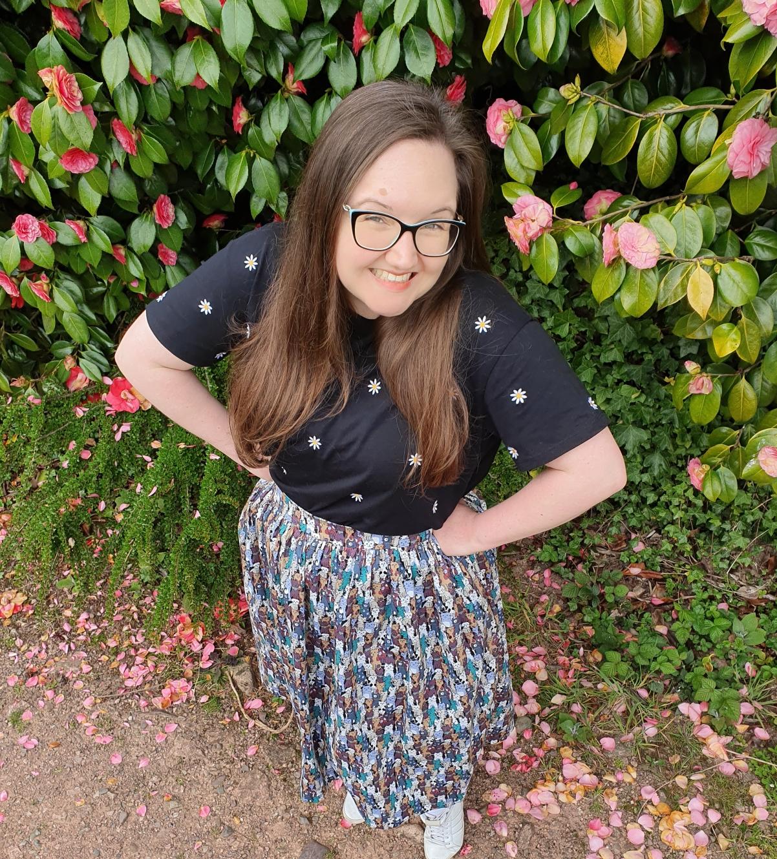 kym cat skirt flowers grin