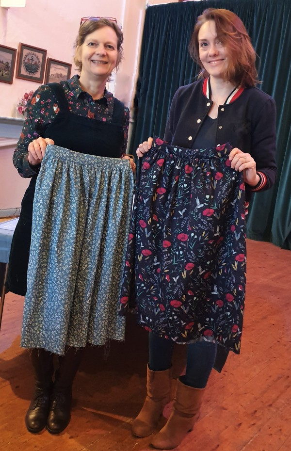 Students from workshop with skirts